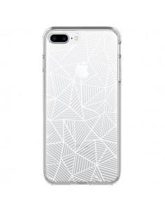 Coque Lignes Grilles Triangles Full Grid Abstract Blanc Transparente pour iPhone 7 Plus et 8 Plus - Project M