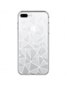 Coque Lignes Grilles Triangles Grid Abstract Blanc Transparente pour iPhone 7 Plus et 8 Plus - Project M
