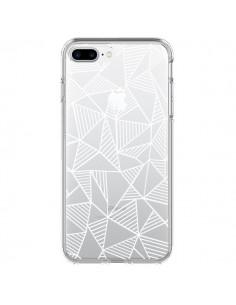 Coque Lignes Grilles Triangles Grid Abstract Blanc Transparente pour iPhone 7 Plus - Project M