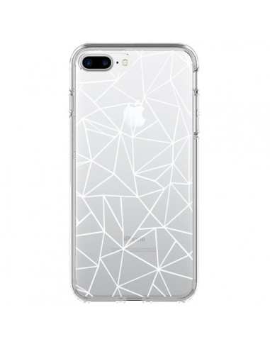Coque iPhone 7 Plus et 8 Plus Lignes Triangles Grid Abstract Blanc Transparente - Project M