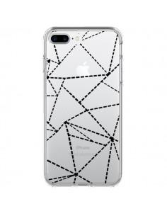 Coque Lignes Points Abstract Noir Transparente pour iPhone 7 Plus - Project M
