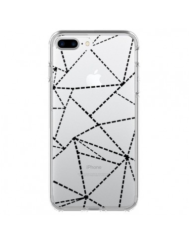 Coque Lignes Points Abstract Noir Transparente pour iPhone 7 Plus et 8 Plus - Project M