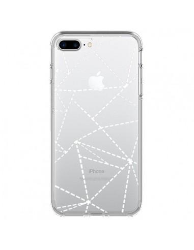 Coque iPhone 7 Plus et 8 Plus Lignes Points Abstract Blanc Transparente - Project M