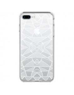 Coque Lignes Miroir Grilles Triangles Grid Abstract Blanc Transparente pour iPhone 7 Plus et 8 Plus - Project M