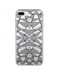 Coque Lignes Miroir Grilles Triangles Grid Abstract Noir Transparente pour iPhone 7 Plus - Project M
