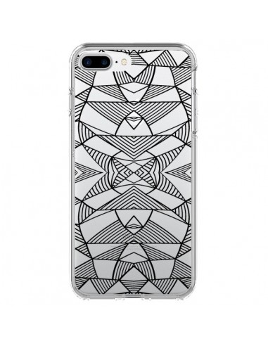 Coque Lignes Miroir Grilles Triangles Grid Abstract Noir Transparente pour iPhone 7 Plus et 8 Plus - Project M