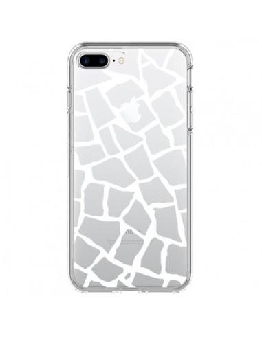 Coque Girafe Mosaïque Blanc Transparente pour iPhone 7 Plus et 8 Plus - Project M