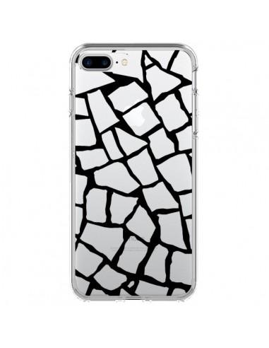Coque iPhone 7 Plus et 8 Plus Girafe Mosaïque Noir Transparente - Project M