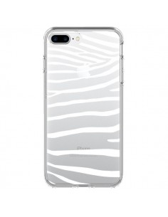 Coque Zebre Zebra Blanc Transparente pour iPhone 7 Plus et 8 Plus - Project M