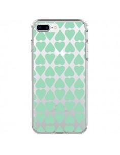 Coque Coeurs Heart Mint Bleu Vert Transparente pour iPhone 7 Plus - Project M