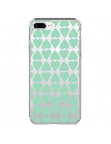 Coque iPhone 7 Plus et 8 Plus Coeurs Heart Mint Bleu Vert Transparente - Project M