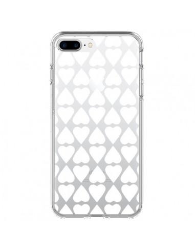 Coque Coeurs Heart Blanc Transparente pour iPhone 7 Plus et 8 Plus - Project M