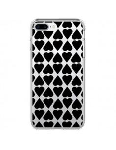Coque Coeurs Heart Noir Transparente pour iPhone 7 Plus - Project M
