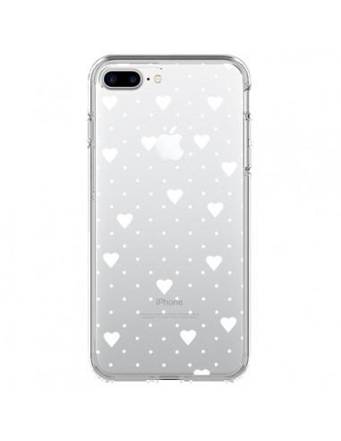 Coque iPhone 7 Plus et 8 Plus Point Coeur Blanc Pin Point Heart Transparente - Project M