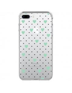 Coque Point Coeur Mint Bleu Vert Pin Point Heart Transparente pour iPhone 7 Plus et 8 Plus - Project M