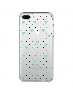 Coque Point Coeur Mint Bleu Vert Pin Point Heart Transparente pour iPhone 7 Plus - Project M