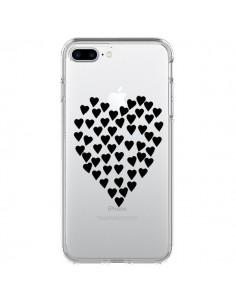 Coque Coeurs Heart Love Noir Transparente pour iPhone 7 Plus - Project M