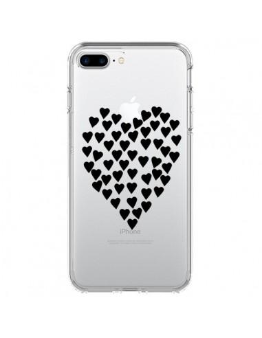 Coque Coeurs Heart Love Noir Transparente pour iPhone 7 Plus et 8 Plus - Project M