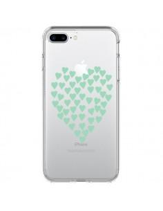 Coque Coeurs Heart Love Mint Bleu Vert Transparente pour iPhone 7 Plus - Project M