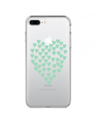 Coque iPhone 7 Plus et 8 Plus Coeurs Heart Love Mint Bleu Vert Transparente - Project M