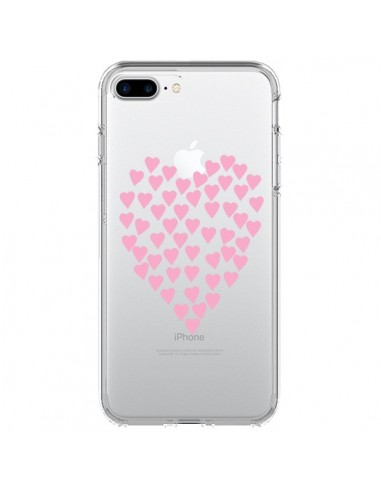 Coque Coeurs Heart Love Rose Pink Transparente pour iPhone 7 Plus et 8 Plus - Project M