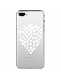 Coque Coeurs Heart Love Blanc Transparente pour iPhone 7 Plus et 8 Plus - Project M