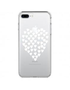 Coque Coeurs Heart Love Blanc Transparente pour iPhone 7 Plus - Project M