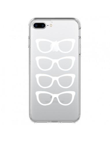 Coque iPhone 7 Plus et 8 Plus Sunglasses Lunettes Soleil Blanc Transparente - Project M