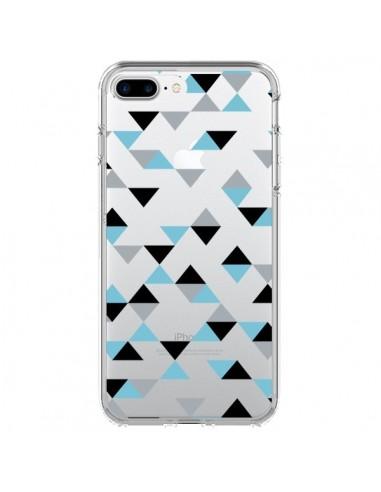 Coque iPhone 7 Plus et 8 Plus Triangles Ice Blue Bleu Noir Transparente - Project M