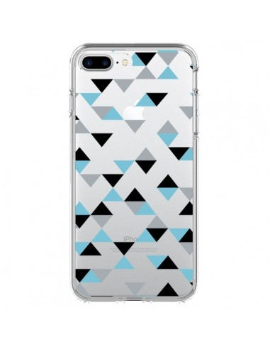 Coque Triangles Ice Blue Bleu Noir Transparente pour iPhone 7 Plus et 8 Plus - Project M
