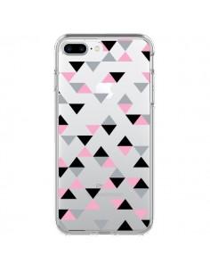 Coque Triangles Pink Rose Noir Transparente pour iPhone 7 Plus et 8 Plus - Project M