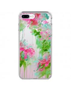 Coque Fleur Flower Rose Vert Transparente pour iPhone 7 Plus - Ebi Emporium