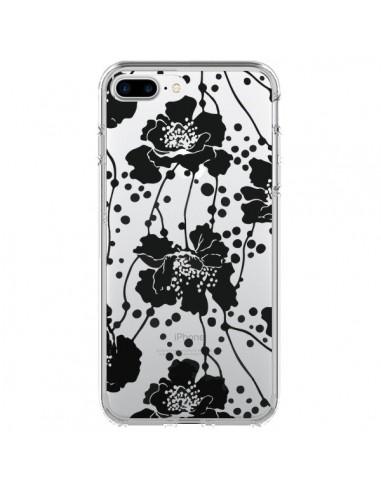Coque Fleurs Noirs Flower Transparente pour iPhone 7 Plus et 8 Plus - Dricia Do
