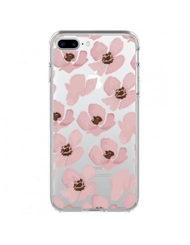 Coque iPhone 7 Plus et 8 Plus Fleurs Roses Flower Transparente - Dricia Do