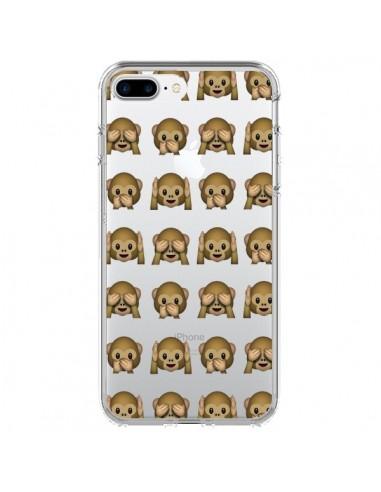 Coque Singe Monkey Emoticone Emoji Transparente pour iPhone 7 Plus et 8 Plus - Laetitia