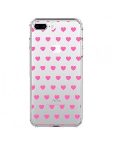 Coque Coeur Heart Love Amour Rose Transparente pour iPhone 7 Plus et 8 Plus - Laetitia