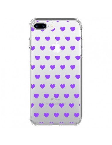 Coque Coeur Heart Love Amour Violet Transparente pour iPhone 7 Plus et 8 Plus - Laetitia