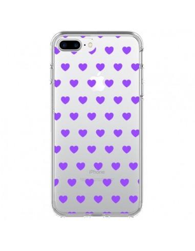 Coque iPhone 7 Plus et 8 Plus Coeur Heart Love Amour Violet Transparente - Laetitia