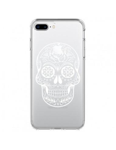 Coque iPhone 7 Plus et 8 Plus Tête de Mort Mexicaine Blanche Transparente - Laetitia