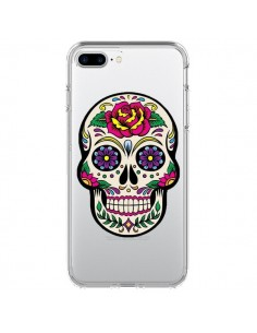 Coque Tête de Mort Mexicaine Fleurs Transparente pour iPhone 7 Plus et 8 Plus - Laetitia