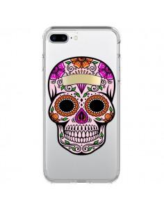 Coque Tête de Mort Mexicaine Noir Rose Transparente pour iPhone 7 Plus et 8 Plus - Laetitia