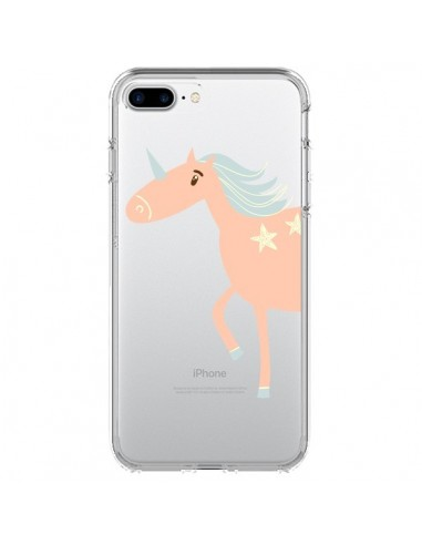 Coque Licorne Unicorn Rose Transparente pour iPhone 7 Plus et 8 Plus - Petit Griffin