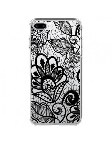 Coque iPhone 7 Plus et 8 Plus Lace Fleur Flower Noir Transparente - Petit Griffin