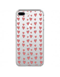 Coque Coeurs Heart Love Amour Rouge Transparente pour iPhone 7 Plus - Petit Griffin