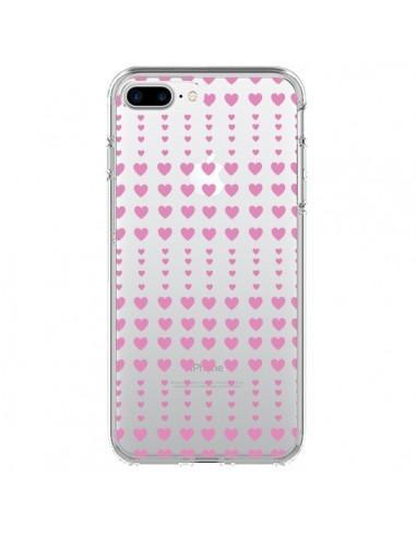 Coque Coeurs Heart Love Amour Rose Transparente pour iPhone 7 Plus et 8 Plus - Petit Griffin