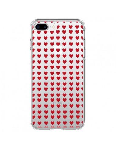 Coque Coeurs Heart Love Amour Red Transparente pour iPhone 7 Plus et 8 Plus - Petit Griffin