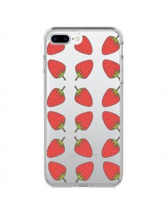 Coque Fraise Fruit Strawberry Transparente pour iPhone 7 Plus - Petit Griffin