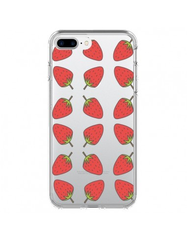 Coque Fraise Fruit Strawberry Transparente pour iPhone 7 Plus et 8 Plus - Petit Griffin