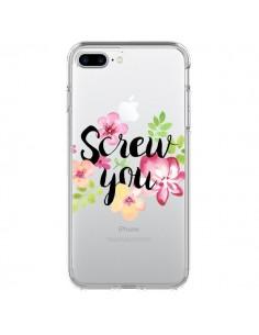 Coque Screw you Flower Fleur Transparente pour iPhone 7 Plus et 8 Plus - Maryline Cazenave