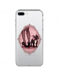 Coque Lady Jambes Chien Bulldog Dog Rose Pois Noir Transparente pour iPhone 7 Plus - Maryline Cazenave